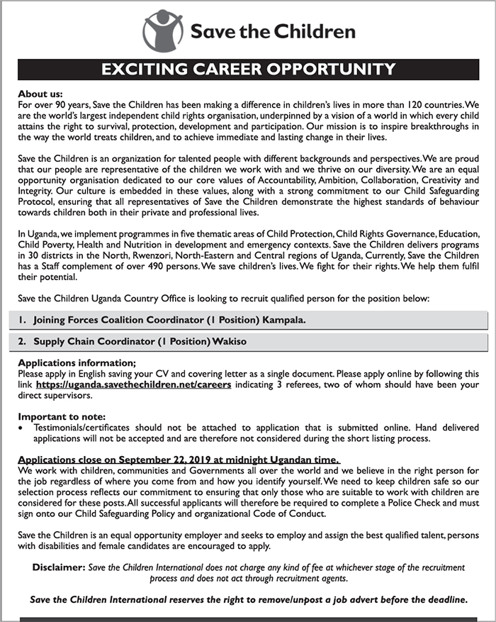 Exciting Recruitment at Save the Children Uganda (September